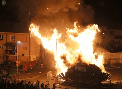 A large bonfire in Derry.