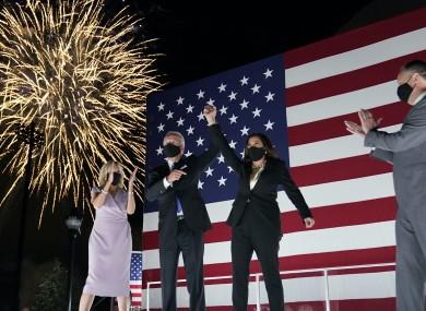 Joe Biden, and his wife Jill Biden, watch fireworks with vice presidential candidate Kamala Harris, and her husband Doug Emhoff
