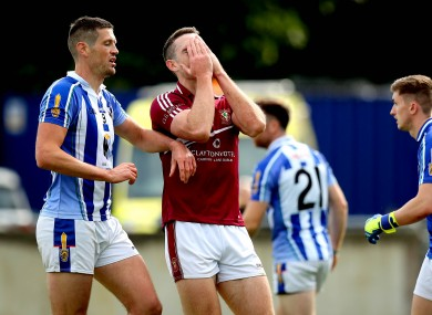 Raheny's Brian Fenton reacts to a missed chance.