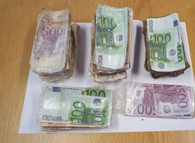 Some of the seized cash.