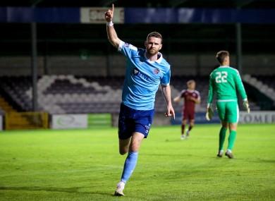 Ciaran Kilduff celebrates scoring for Shelbourne.