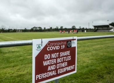 Covid 19 signage at training in Kilbeggan, Westmeath.