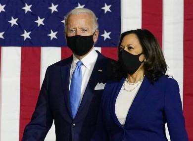 Joe Biden and Kamala Harris at last night's rally in Delaware.