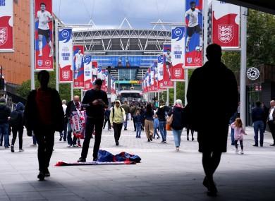 Fans walk down Wembley Way in 2019.