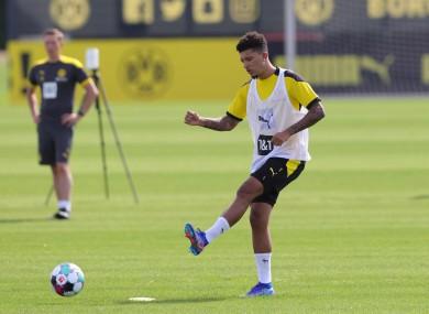 Sancho training with Dortmund yesterday.