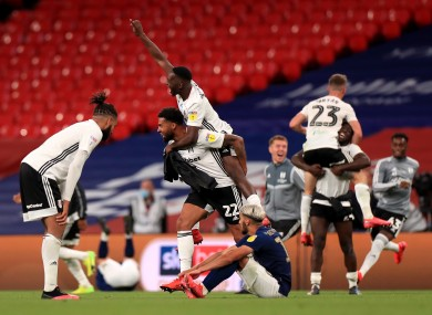 Fulham players celebrate their win at Wembley.