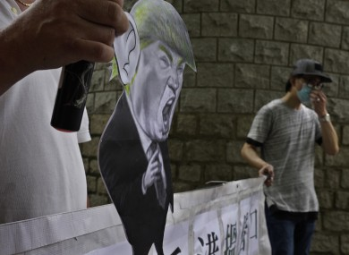 Pro-China supporters outside the US Consulate in Hong Kong today.