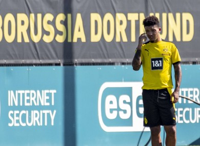 Jadon Sancho training today.