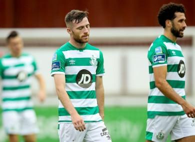 Shamrock Rovers' Jack Byrne dejected after the game.
