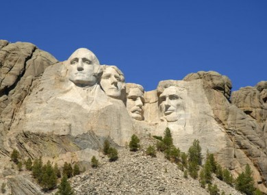 The Mount Rushmore monument in South Dakota.