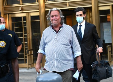 Former White House adviser Steve Bannon outside court earlier this month