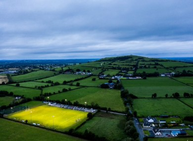 An aerial shot of last night's Offaly SFC game between Clara and Cappincur.