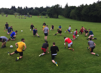 Members of East Belfast GAA club pictured during a training session last month.