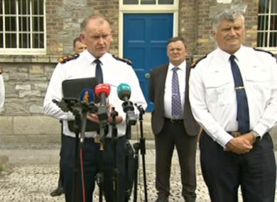Mangan speaking at Garda HQ this afternoon.