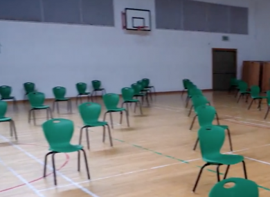The sports hall in St Kevin's Secondary School in Dunlavin, Co Wicklow.