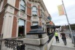 The empty plinths outside the Shelbourne Hotel in Dublin.