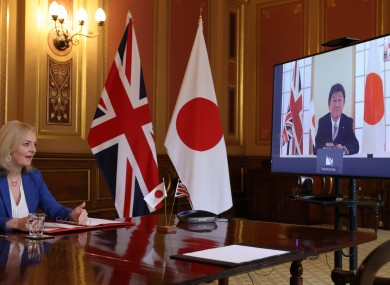 International trade secretary Liz Truss with her Japanese counterpart.