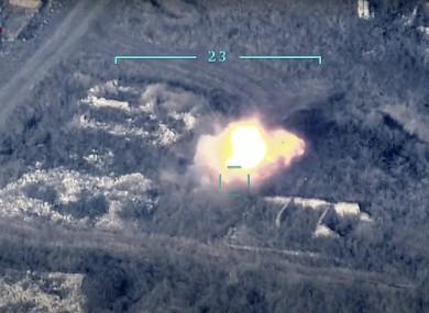 Azerbaijan's forces destroy an Armenian anti-aircraft system.