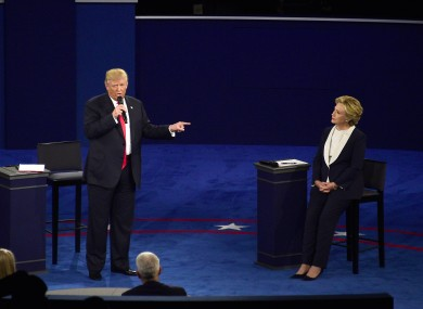 Hillary Clinton and Donald Trump appear in the second of three presidential general election debates, October 2016.