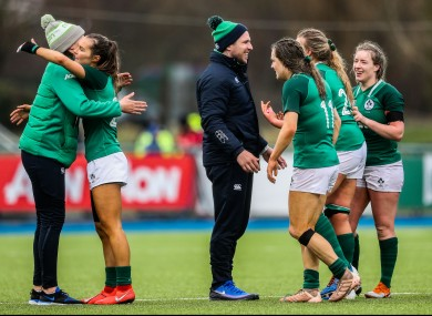 Adam Griggs with his Ireland players.