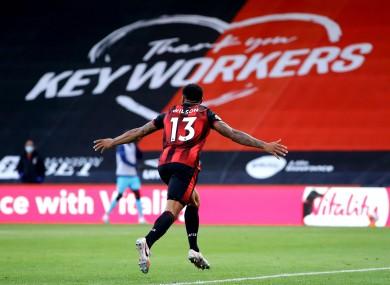 Callum Wilson celebrates after scoring against Tottenham.