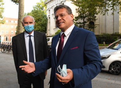 EU Commission vice-president Maros Sefcovic (right) arriving at EU House, London