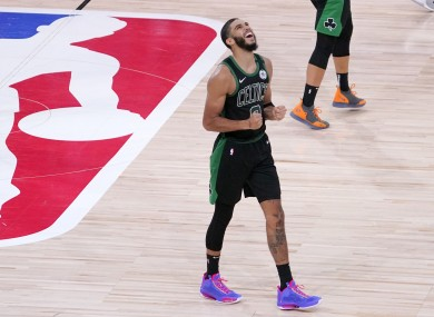 Jayson Tatum reacts after his side's victory over the Toronto Raptors.
