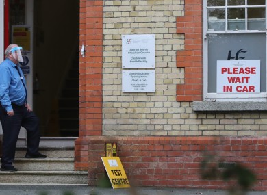 A security guard at one of two pop up Covid-19 testing facilities in Dublin at Castleknock Health centre.