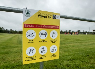 A general view of Covid-19 signage at a GAA pitch.