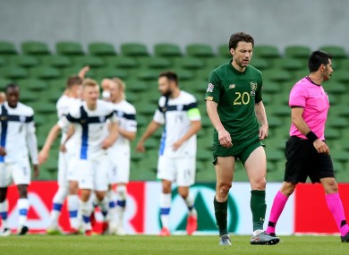 Ireland's Harry Arter dejected after conceding the first goal to Finland.