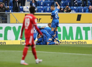 Hoffenheim celebrate their second goal.