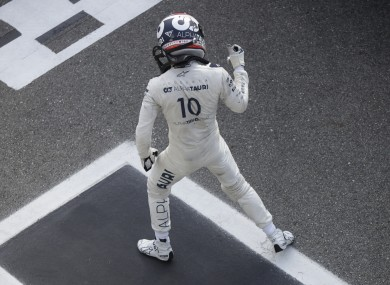 Gasly celebrates in the pit.