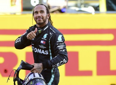 Thumbs up from Lewis Hamilton after the win.