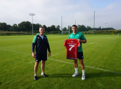 IRFU DIrector of Women's and Sevens Rugby, Anthony Eddy, and Ireland Men's Sevens winger Jordan Conroy.