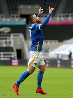 Brighton & Hove Albion's Aaron Connolly celebrates after scoring in their win over Newcastle United.