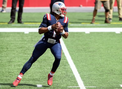 Cam Newton in action for the New England Patriots.