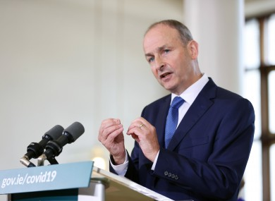 Taoiseach Micheál Martin at today's press conference.