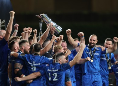 Rob Kearney and Fergus McFadden lift the Pro14 trophy.