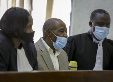 Paul Rusesabagina in court in KIgali.