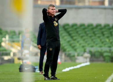 Stephen Kenny reacts in game.