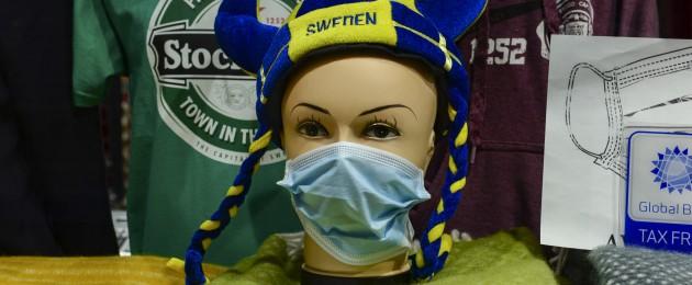 Souvenir shop selling face masks in Stockholm, Sweden, in April.