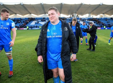 Furlong walks off after Leinster's win over Lyon at the RDS in January.