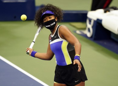 Osaka wearing a mask in honor of Breonna Taylor at the US Open.