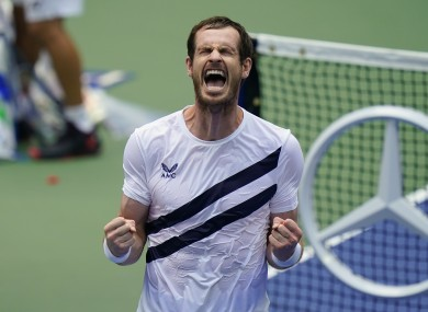 Murray celebrates his victory over Yoshihito Nishioka in the US Open first round.
