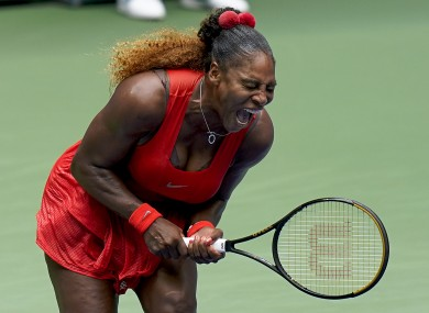 Serena Williams reacts during the match.
