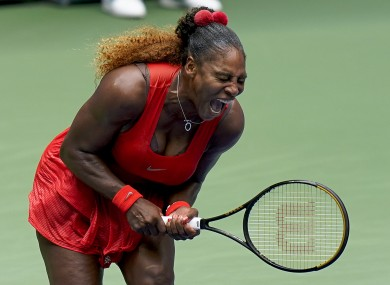 Serena Williams celebrates her quarter-final win.