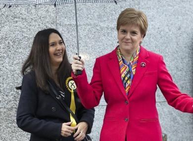 SNP leader Nicola Sturgeon (right) with Margaret Ferrier