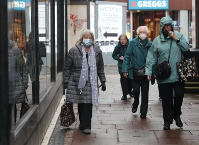 Shoppers wearing face masks in Sheffield