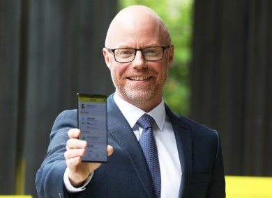 Minister for Health Stephen Donnelly promoting the app in July.