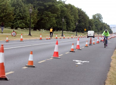 Cyclists using the new bicycle lane in the Phoenix Park